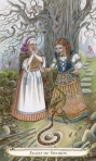"""Women's speech has always been a concern. This tarot card draws on a folk tale from The Blue Fairy Book (1889). Tarot cards are an example of non-linear uses of metaphor, as are folk tales and """"old wive's tales."""""""