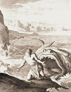 "For his sin of running from God's request (""Refusing the Call"") Jonah is sacrificed to the sea. A whale swallows him; Jonah sits for three days and nights, mulling over his promise to God. When he emerges from the belly of the whale, he accepts God's call, and, a changed man, commits himself to the quest God set out for him."