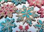 blue and pink snowflake cookies