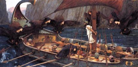 John W. Waterhouse's interpretation of Odysseus before the mast, sirens taunting him. Odysseus was in a constant state of returning home.