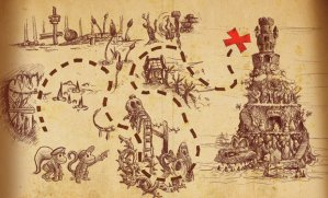 Look at a game board some time and you'll see that it's also a map of a story, telling you what happens along the way. The little images are symbols for
