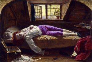 Thomas Chatterton, a rather infamous writer, whose writing and tragic life inspired romantic poets for awhile. I worry that aspiring writers worry that this is what will happen to them if they pursue their writing, but this kid had problems larger than life as a writer could address.