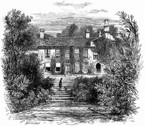An image of William Wordworth's house in the isolated hills of the English Lake District. Wordworth, one of the first Romantic writers, personifies the idea of the isolated, romantic writer, alone in nature with his thoughts. This represents only one way of getting one's writing done, yet it is the dominant trope of what it means to be a writer, even today.